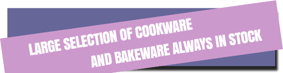 large selection of cookware